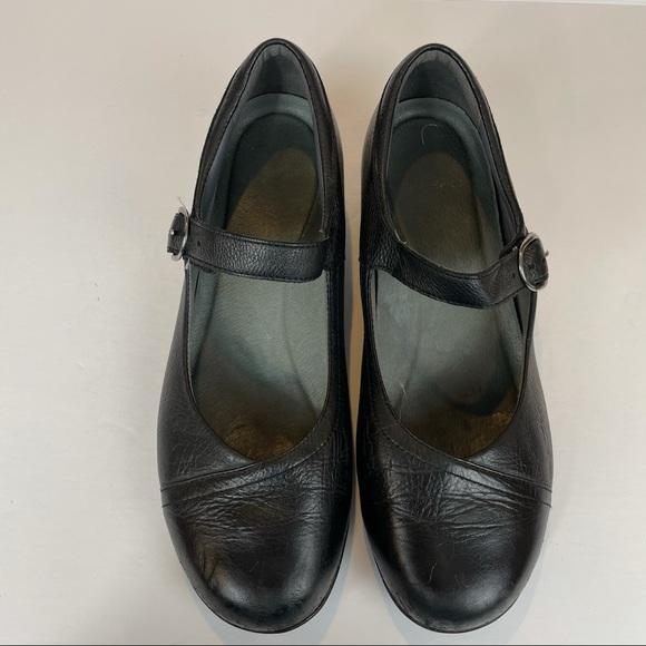 Dansko Fawna Black Leather Mary Janes 10.5 (41)